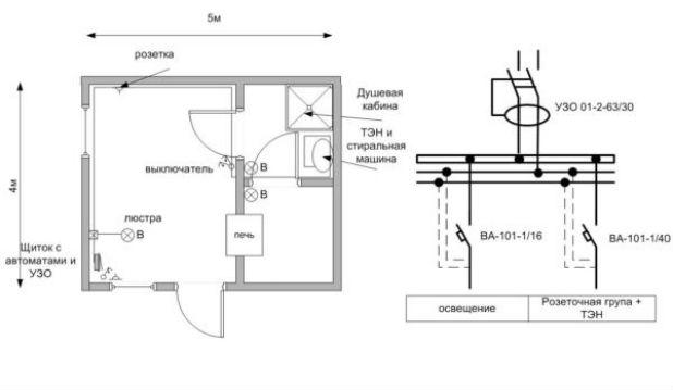 схема подключения освещения бани 12 вольт на путеизмерительные тележки